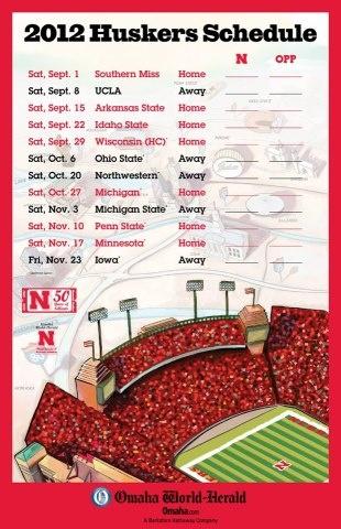 2012 Husker schedule