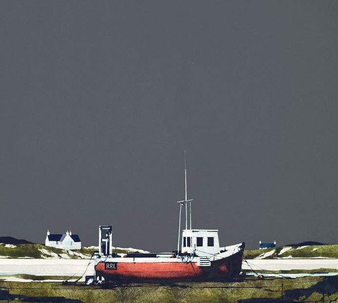Ron Lawson, Creel Boat, Barra. Signed Limited Edition print | Scottish Contemporary Art