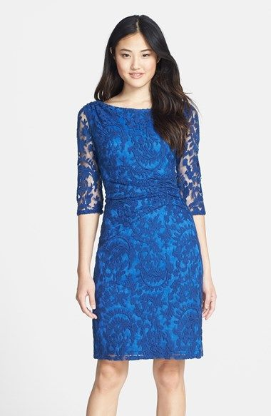 Love this blue lace sheath dress from @nordstrom  - This is such a great color!!!