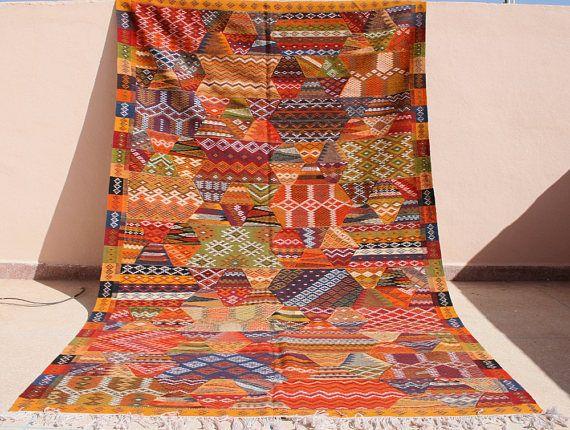 groer farbenfroher kelim teppich orange gelb kelimteppich 200x300 marokkanischer teppich 2x3 kinderzimmer teppich
