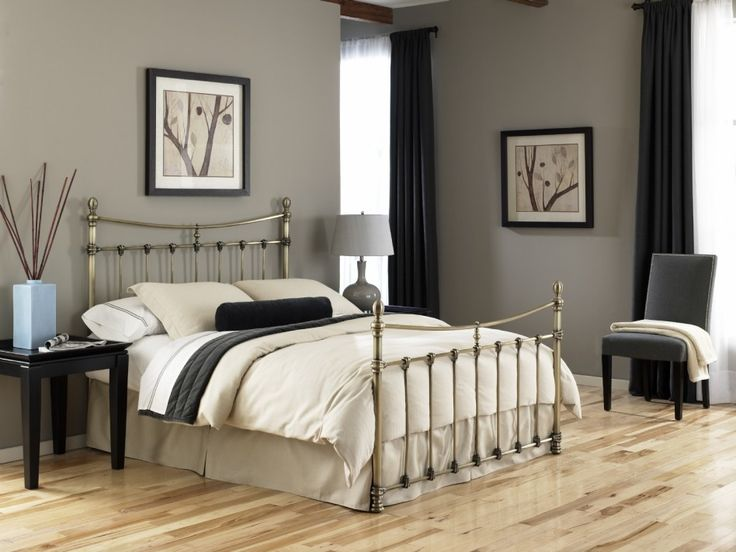Furniture, : Stunning Bedroom Decoration With Chrome Bed Frame With Headboard And Footboard Design, Solid Wood Bedroom Floor And Grey Bedroo...
