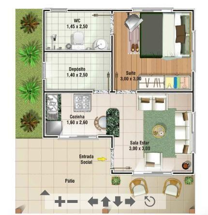 Plantas De Casas Populares Com 1 Quarto1 Jpg 430 215 445