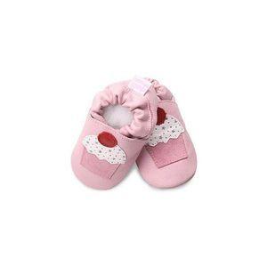 Chaussures en cuir souple 12/18mois cupcake rose