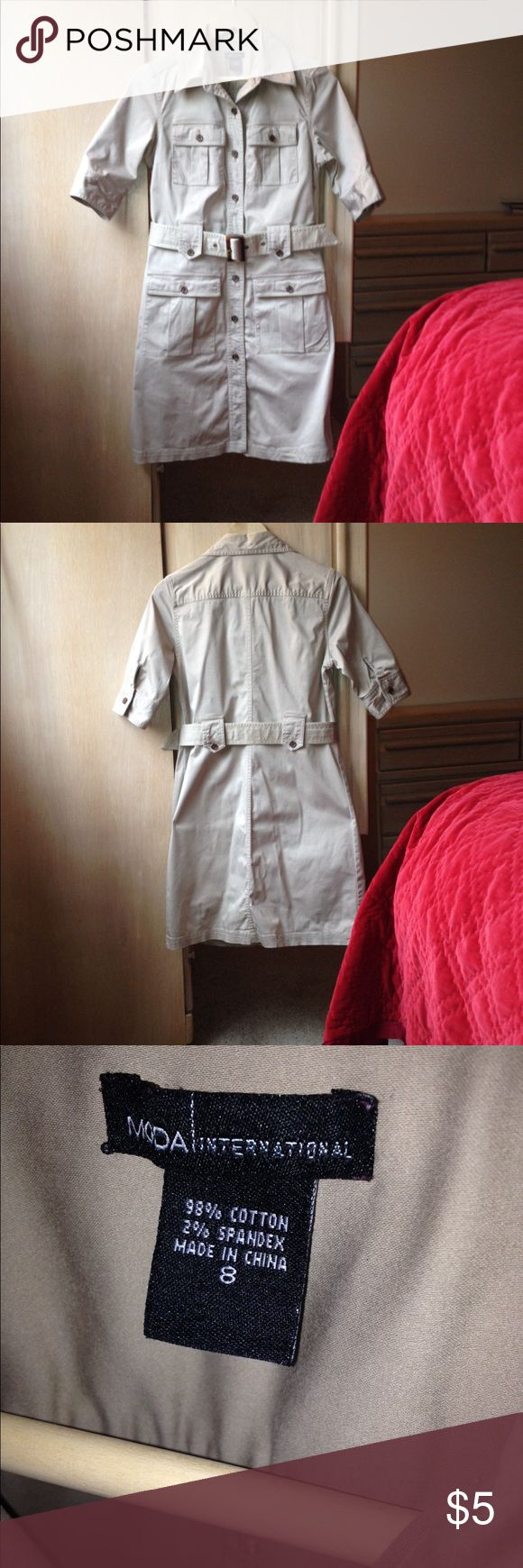 Khaki shirt dress Belted shirt dress in tan khaki structured feminine shape Moda International Dresses