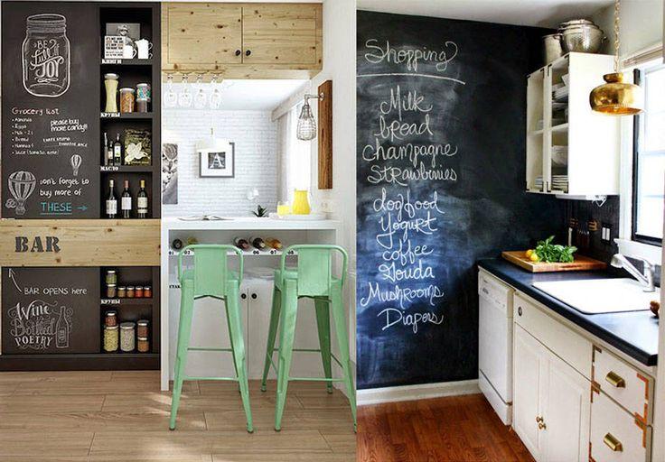 Pintar una puerta o pared con un color verde oscuro o negro sirve para poder escribir mensajes alentadores a la vista de todos, recetas o sencillamente anotar tareas pendientes.