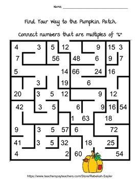 3rd Grade Math Multiplication Worksheets Mazes, Targets