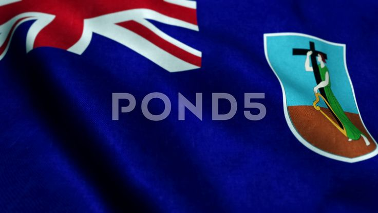 Montserrat Flag Close Up Realistic Animation Seamless Loop - Stock Footage | by panuwatsexy