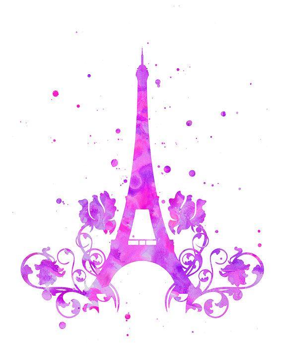 Eiffel Tower print Eiffel Tower watercolor by FluidDiamondArt
