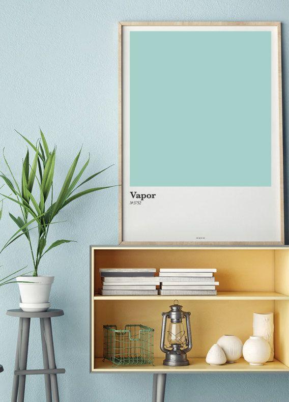 En affisch med färgkarta i turkos. Fina färgkartor och posters till ditt vardagsrum   Archiveseven.com