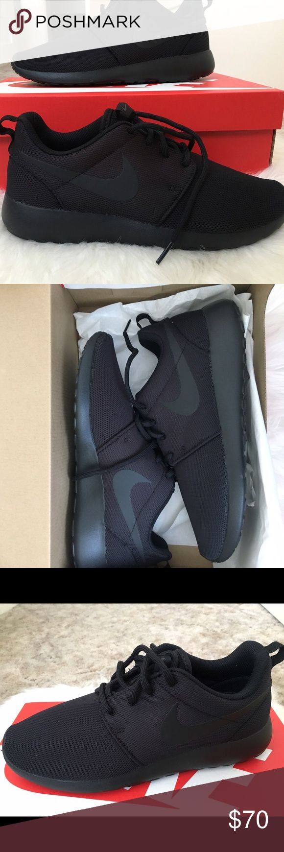 NIKE roche ALL BLACK BRAND NEW all black NIKE roches!!! Got the wrong size delivered so They have never been worn. I have two pairs. Both are absolutely brand new. Wish they could fit me ☹️ Nike Shoes Sneakers
