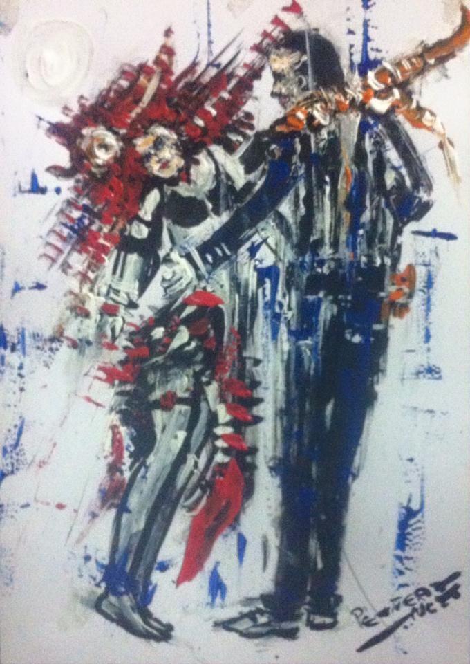 RED AND BLUE IN SOUL:MAGIC OF HIPS Autor PENTEADO NETO. Técnica: Guache+Tinta acrílica +nanquim a pincéis cônicos #14 e 12 sobre papel 140g/m2 Dimensões;297X210mm Data: 19/12/2015- 22:00