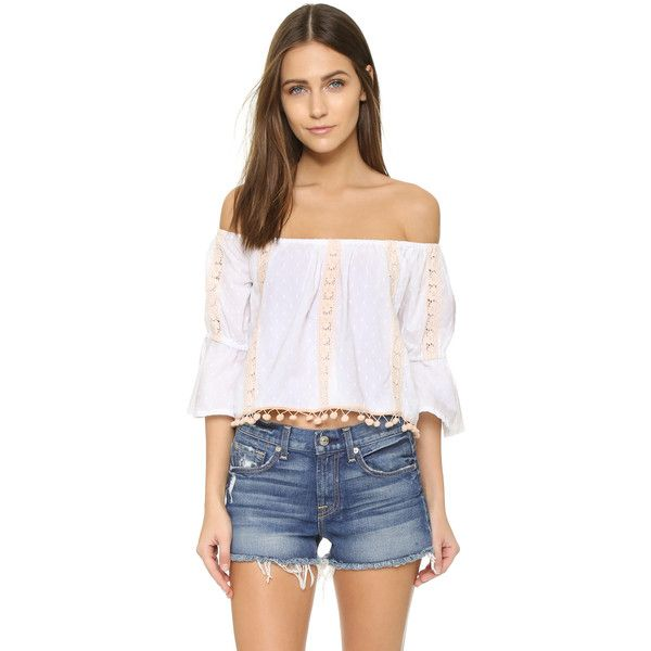 TULAROSA Alexa Top ($125) ❤ liked on Polyvore featuring tops, blouses, white, off shoulder blouse, embroidered blouse, 3/4 sleeve lace top, white embroidered blouse and lace crop top