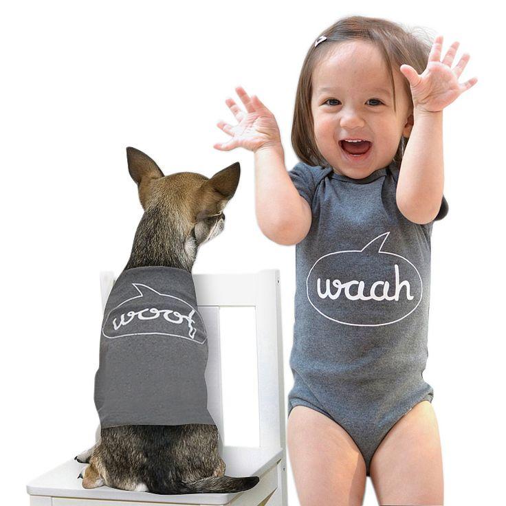 WAAH & WOOF BABYSUIT & DOG SUIT SET | dog new baby | UncommonGoods