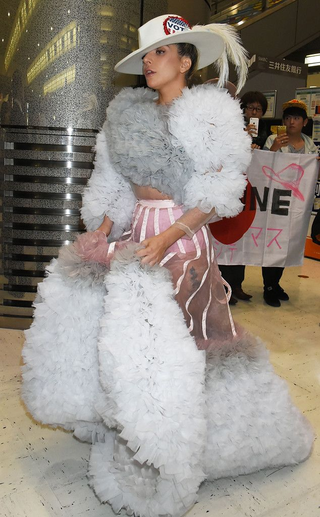 Lady Gaga from The Big Picture: Today's Hot Pics  Fluff and feathers! The singeris seen at Narita International Airport in Tokyo, Japan.