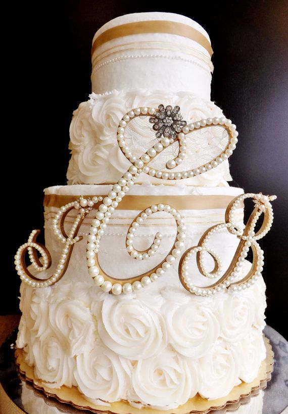 Ivory Pearls and Lace Cake Topper Monogram by ParisBakeryPretties