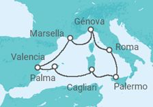 Itinerario del Crucero Francia, Italia, España - MSC Cruceros