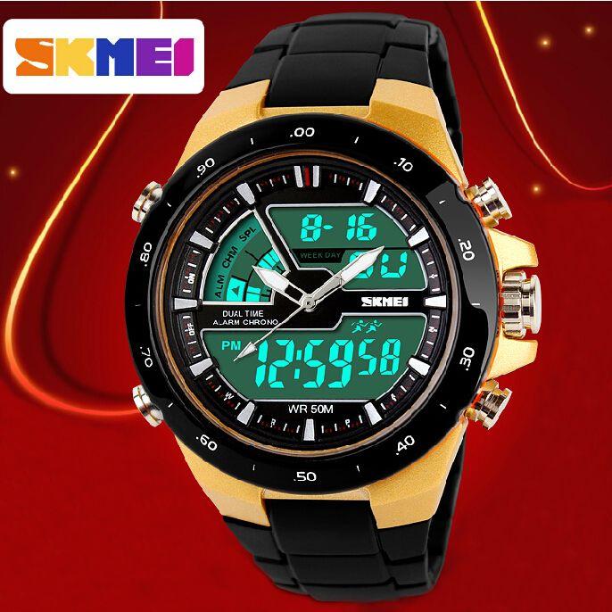 Коллекция 2014 Брендовые мужские спортивные часы на каждый день с 2 временными зонами цифровые часы Кварцевые модные часы Наручные светодиодные часы для дайвинга Военные часы Модные и повседневные часы