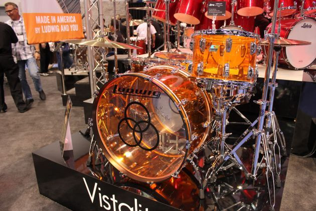 Ludwig Namm 2015  Replica of John Bonham's Ludwig set in clear orange vinyl.  Cool.