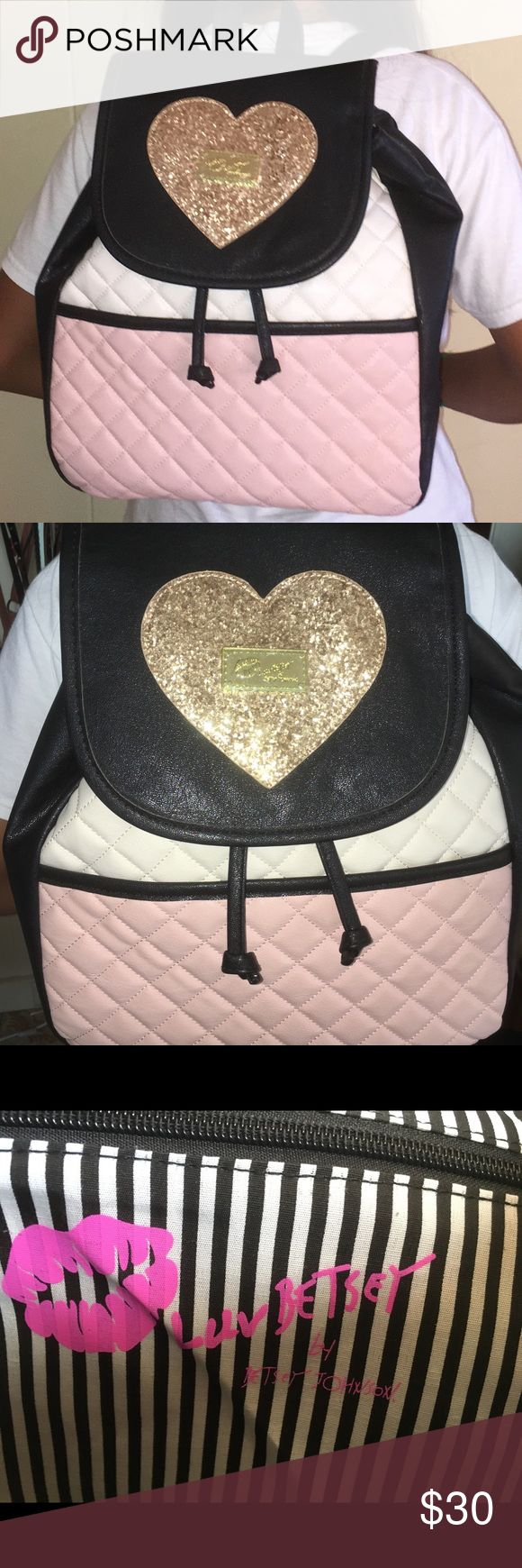 CUTE Betsy Johnson Fashion BackPack New w/ Tag. Great condition. Small but looks big on the picture since my 12yo sister is wearing it. Fashionably good adventure bag. Offers are welcome. Betsey Johnson Bags Backpacks