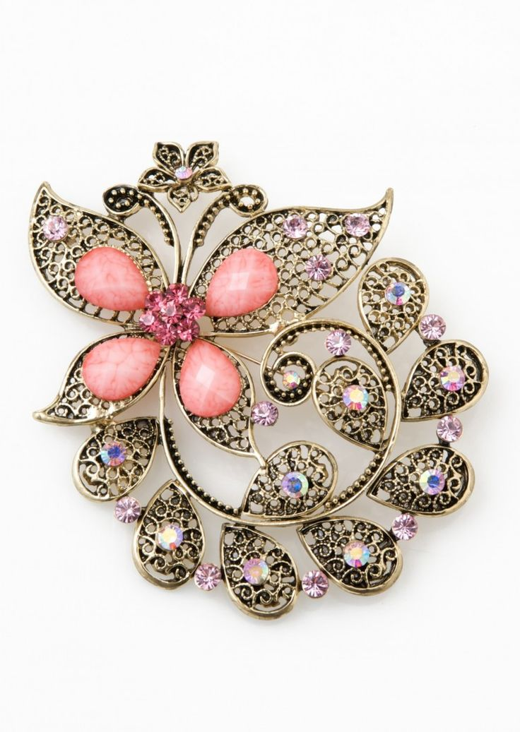 Gorgeous stocking filler - this glamorous pink brooch will look fabulous with a big scarf, or to brighten up a winter coat.