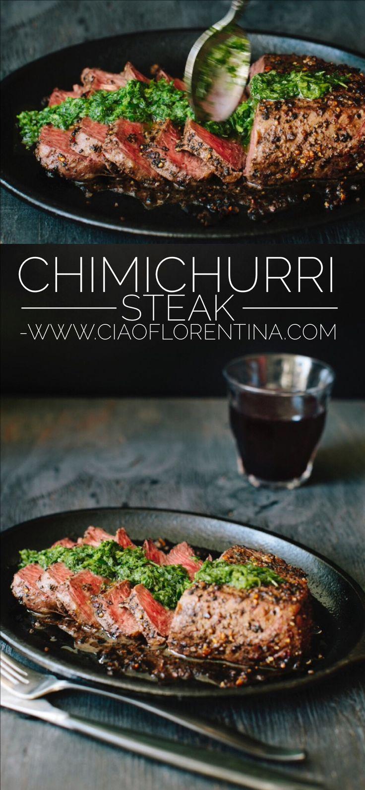 Chimichurri Steak Recipe with Peppercorn Crust   CiaoFlorentina.com