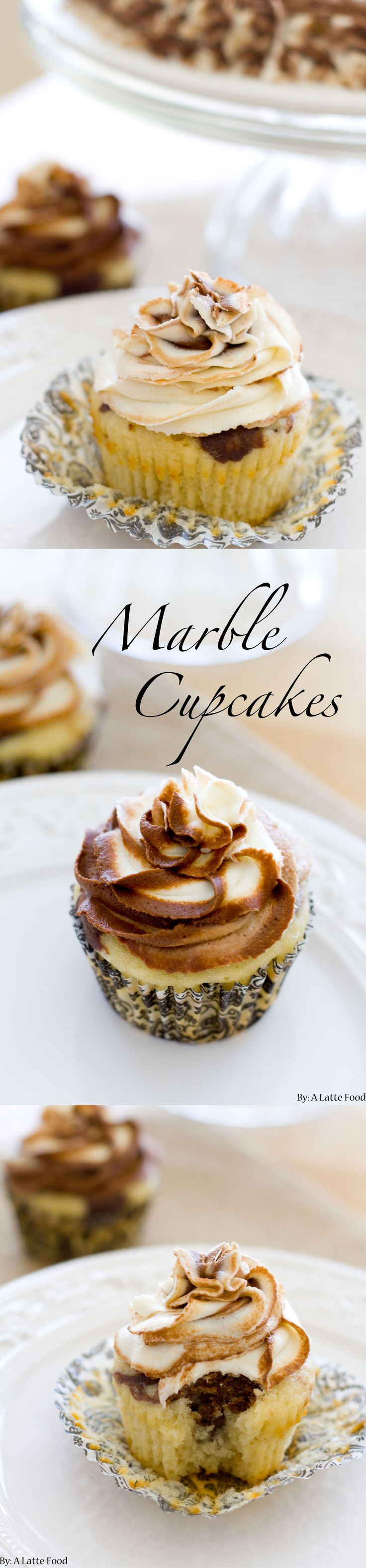 Chocolate Vanilla Marble Cupcakes | Rich chocolate cake is swirled with classic vanilla to create one incredible cupcake. Top it with chocolate and vanilla swirled frosting for the perfect marble cake!