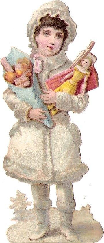 Oblaten Glanzbild scrap die cut chromo Winter Kind child Schnee snow doll Puppe: