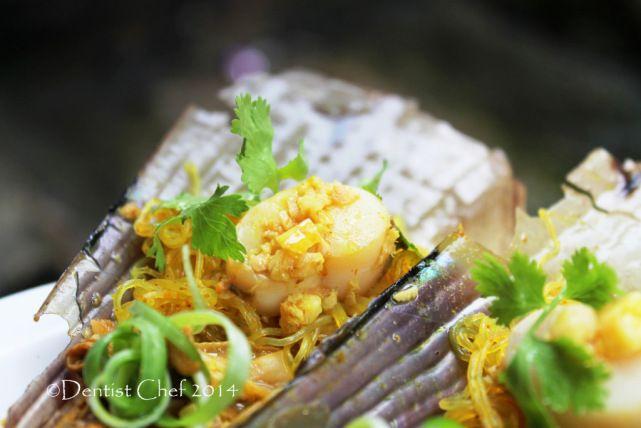 Recipe Steamed Scallops Garlic Ginger Chinese Style with Rice vermicelly kerang tim bawang putih