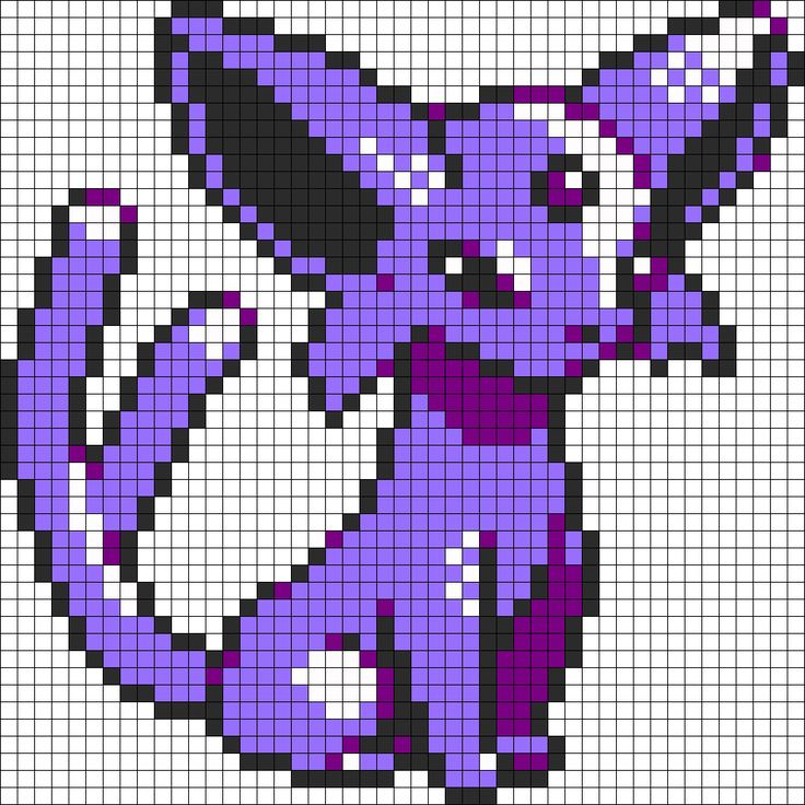 Espeon pokemon sprite perler bead pattern bead sprite for Umbreon pixel art template