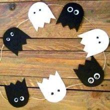 Pour une déco charmante à défaut d'être effrayante, voilà un DIY très simple et très rapide qui vous permettra de réaliser une jolie guirlande fanions qui mettra à l'honneur les petits fantômes d'Halloween. Le bal des fantômes d'Halloween va bientôt commencer!!!