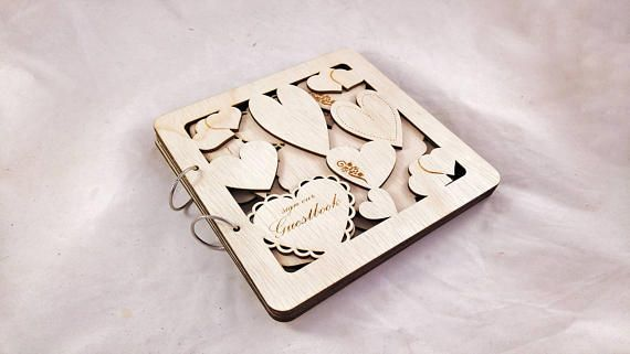 Wooden Guestbook Wedding Guestbook Layered Guestbook Bridal