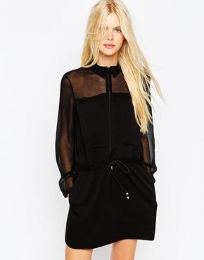 ASOS Shirt Dress with Sheer Panel