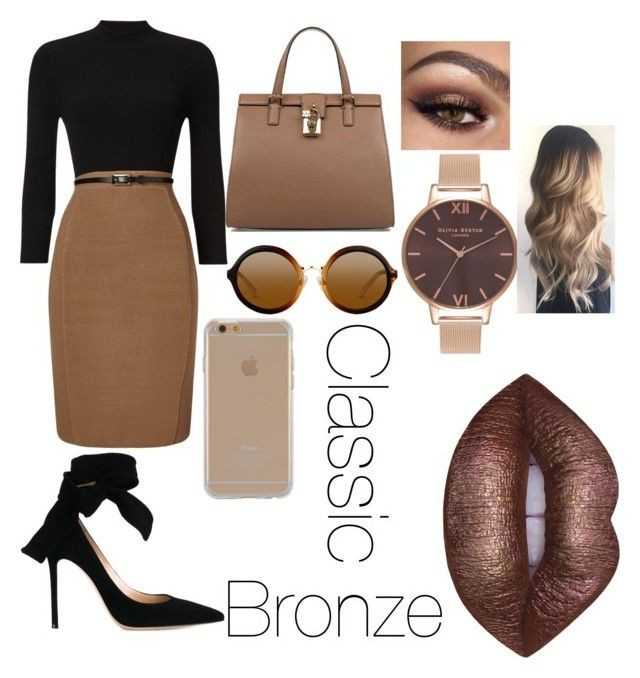 """Classic Bronze"" by arohaawilliams on Polyvore featuring Phase Eight, Gianvito Rossi, Dolce&Gabbana, Agent 18, Lime Crime and Olivia Burton"