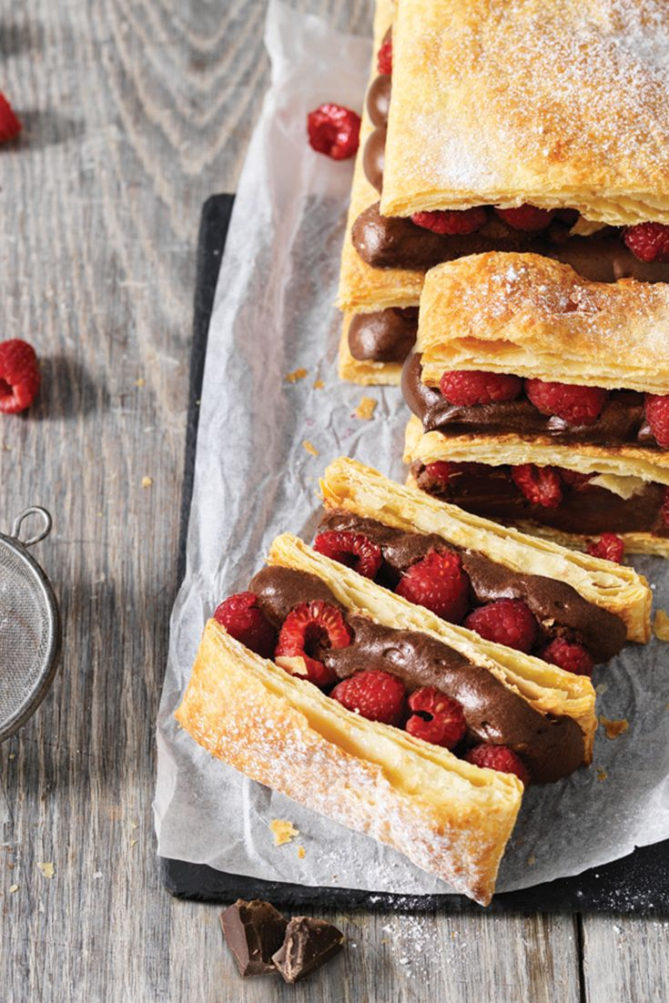 Raspberry and Chocolate Mousse Mille-Feuille: Hard to say, but delicious to eat!