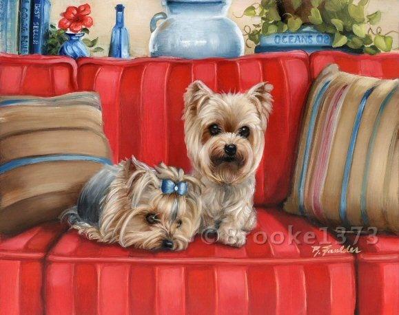 Yorkie Painting Garden Flag Dog Art Yorkshire Terrier By Brooke Faulder