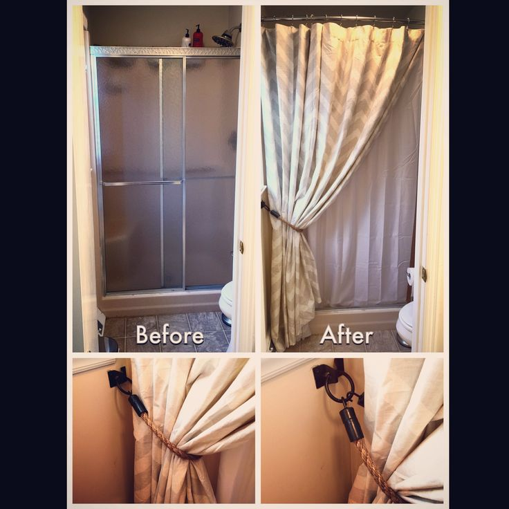 Replacing Shower Door with Curtains, and DIY Rope Tiebacks | Making This House My Home