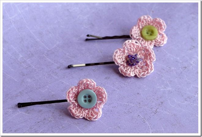 Crochet Hair Accessories Tutorial : ... crochet tutorial showing you how to make a simple bobby pin into a