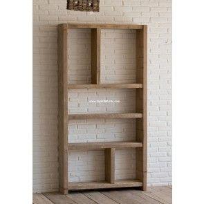 Libreria asimmetrica in legno di recupero