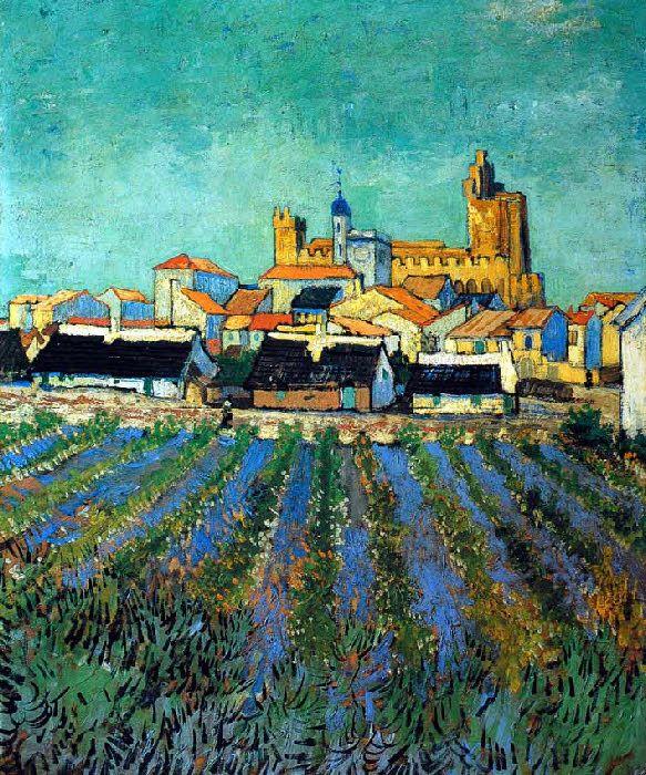 Vincent Van Gogh  - Arles - 'Vue des Saintes-Maries'  - France.
