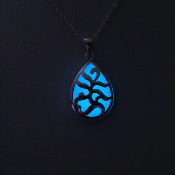 Blue Glow Necklace  Mum to be   Glow In The by BespokeInnaDesign
