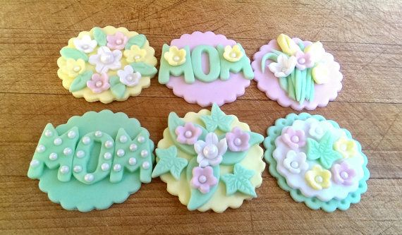 Mothers Day Fondant Pastel Fondant Flowers.. Set of 12 (one dozen) 2 each.