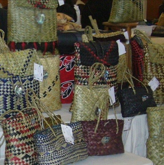 Various Kete (Satchels made of woven flax by Maori women) for sale at the Otara fleamarket