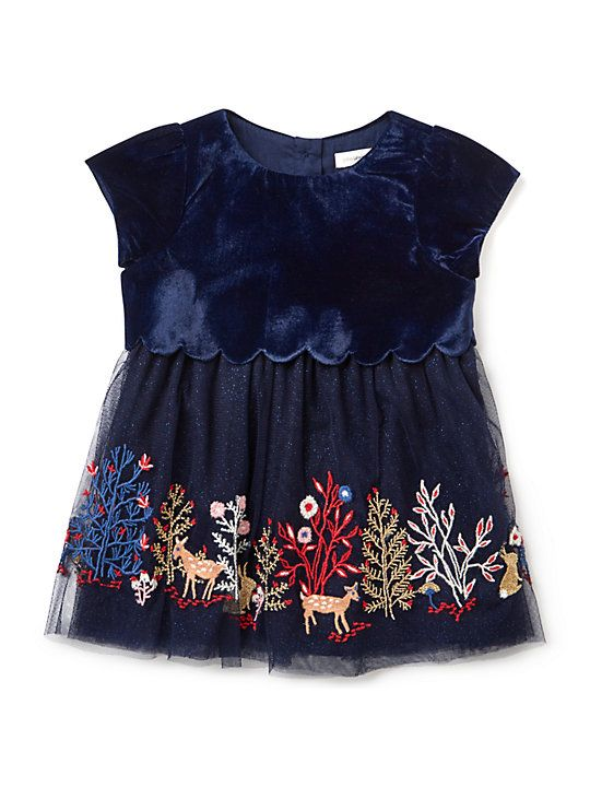 64c0bd05e John Lewis & Partners Baby Velour Embroidered Party Dress, Navy ...