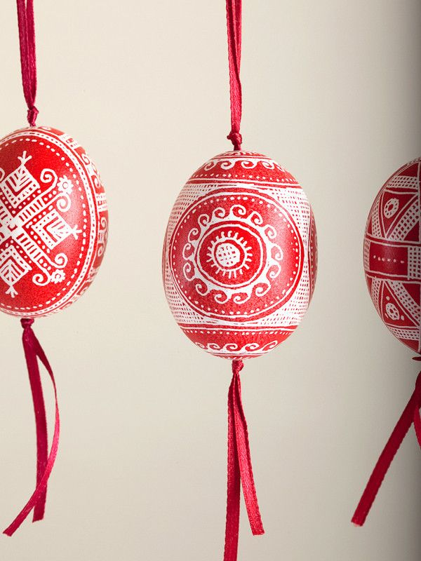 Red Pysanka Chicken Egg Ornament with ribbon