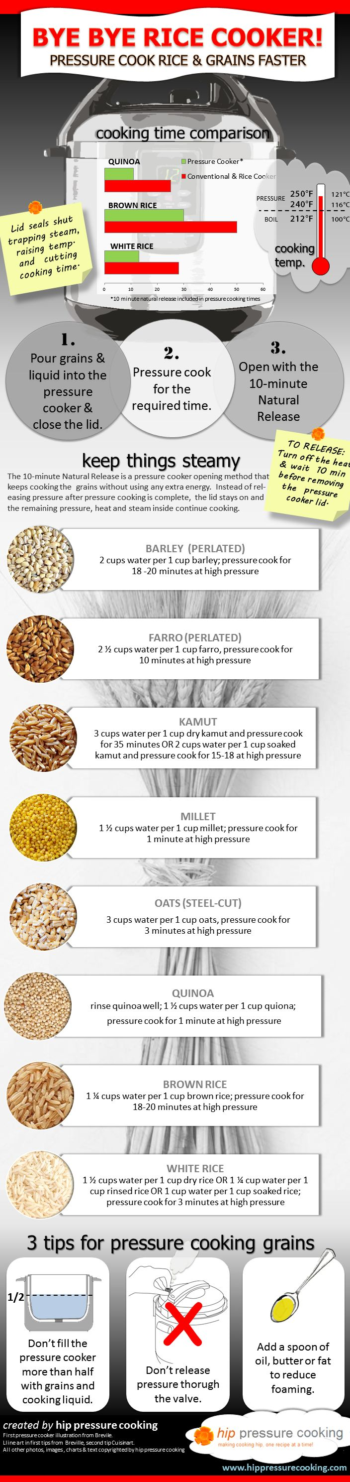 Infographic: Bye Bye Rice Cooker, pressure cook rice grains faster with pressure!