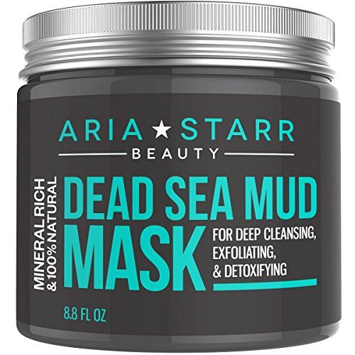 awesome Aria Starr Beauty Dead Sea Mud Mask For Face, Acne, Oily Skin & Blackheads - Best Facial Pore Minimizer, Reducer & Pores Cleanser Treatment - 100% Natural With Shea Butter + Aloe Vera + Jojoba Oil For Younger Looking Skin