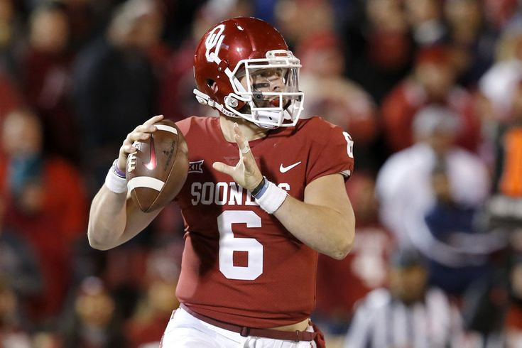 Oklahoma's Baker Mayfield (6) rolls out to pass during a college football game between the Oklahoma Sooners (OU) and the University of Texas Tech Red Raiders (TTU) at Gaylord Family-Oklahoma Memorial Stadium in Norman, Okla., Saturday, Oct. 28, 2017. Photo by Bryan Terry, The Oklahoman