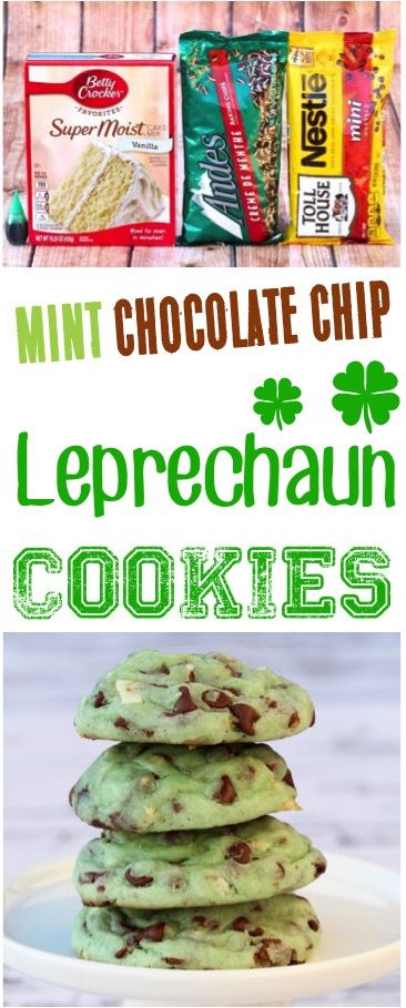 St Patricks Day Party Food for Kids!  This mint chocolate chip cake mix cookies recipe literally tastes like mint ice cream! Baking this delicious dessert is so easy!