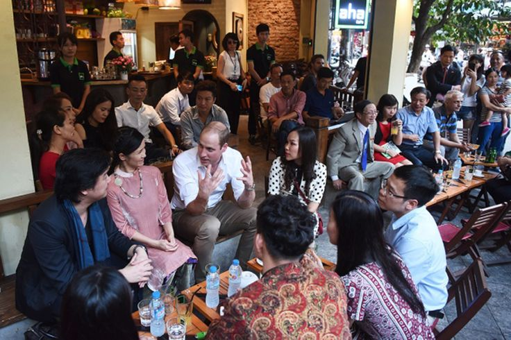 Vietnamese coffee: On the afternoon of his first day in Vietnam's capital, the Duke of Cambridge retreated to a roadside café to enjoy Vietnamese style coffee and speak with locals about wildlife conservation.