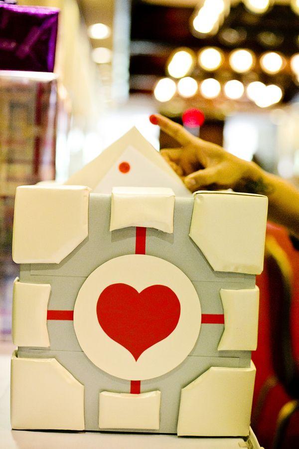Portal Companion Cube Card Box - Jovi + Brandon's Video Game Wedding in Honolulu from Creatrix Photography